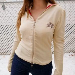 Harley-Davidson cream knit zip up sweater M